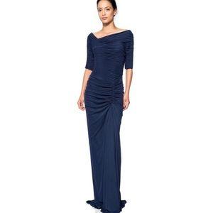 Tadashi Shoji blue asymmetric ruched sleeve gown